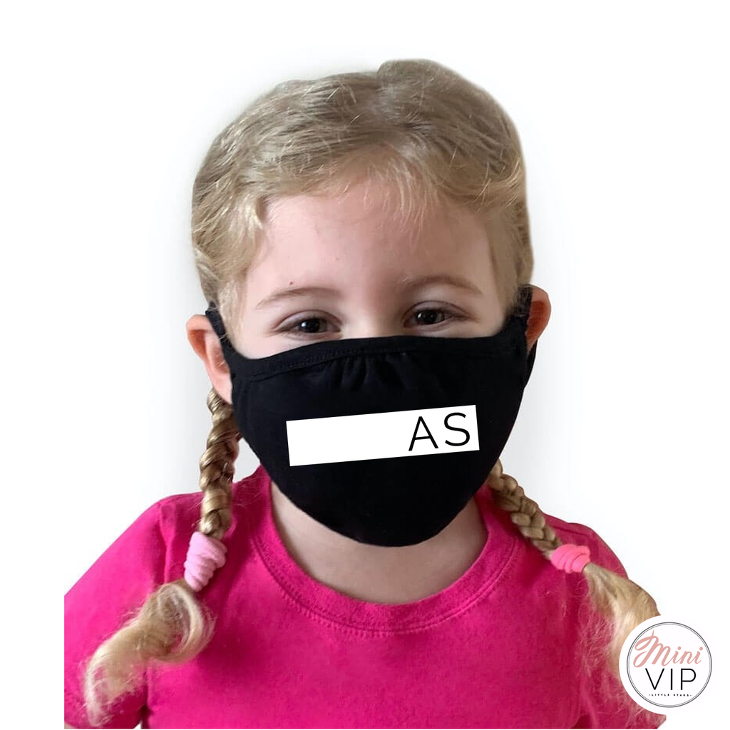Personalised Block Initials Face Mask / Covering - kids & adult sizes