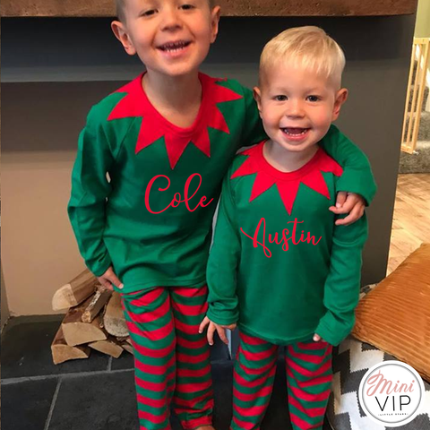 Image of Personalised Elf Style Christmas PJs