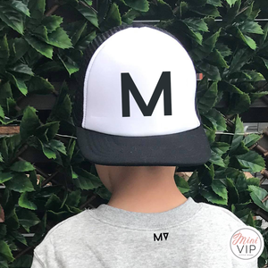 Personalised Initial Block Black/White Trucker Cap - Junior Size