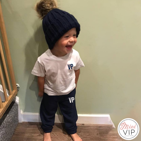 Image of Personalised White/Navy Tracksuit Lounge Set 2