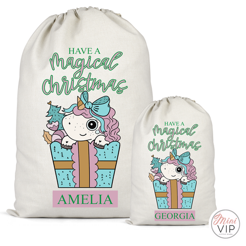 Magical Christmas Unicorn Personalised Cotton Santa Sack