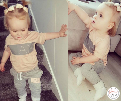 Image of Personalised Grey/Peach Tracksuit Lounge Set - Spring/Summer