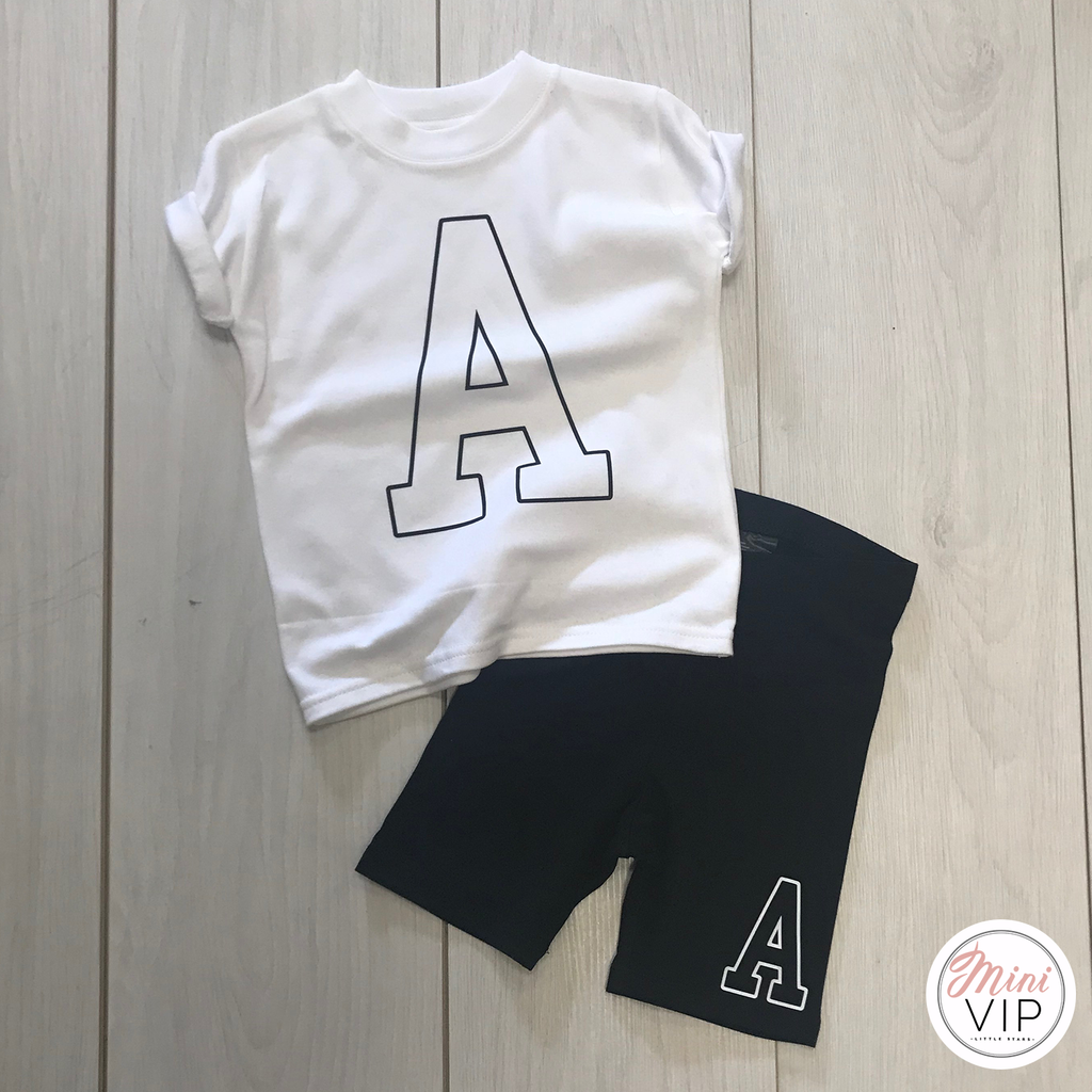 Collegiate Initial - Black Cycling Shorts & White T-Shirt Girls Set