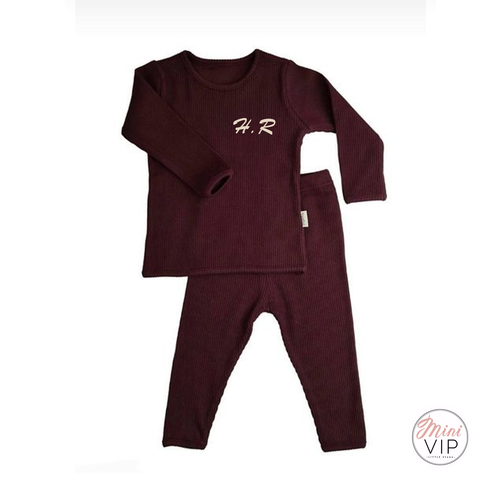 Image of Embroidered Aubergine Ribbed Loungewear
