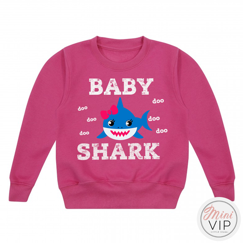 Personalised Baby Shark Cerise Pink Sweatshirt