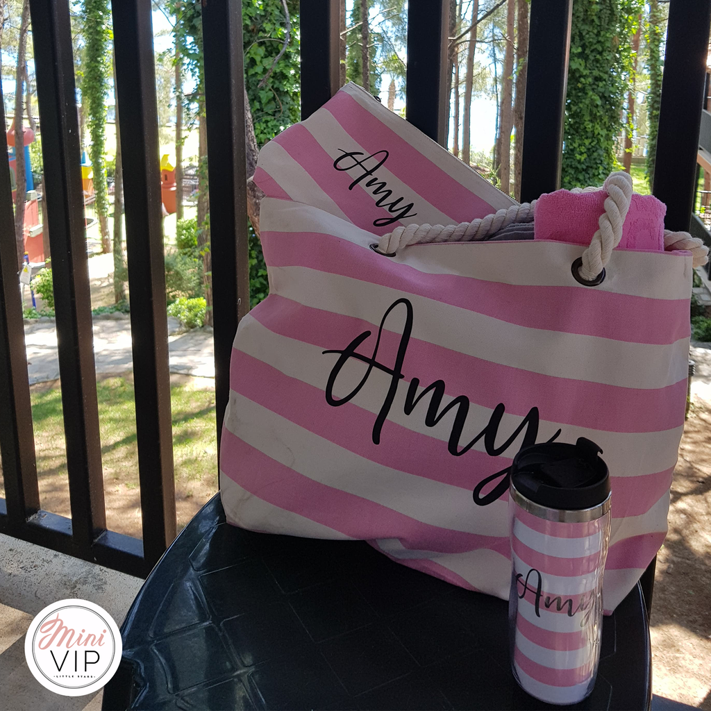 Personalised Beach Bag, Make Up/Sun Cream Pouch & Thermal Cup Set