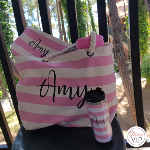 Image of Personalised Beach Bag, Make Up/Sun Cream Pouch & Thermal Cup Set