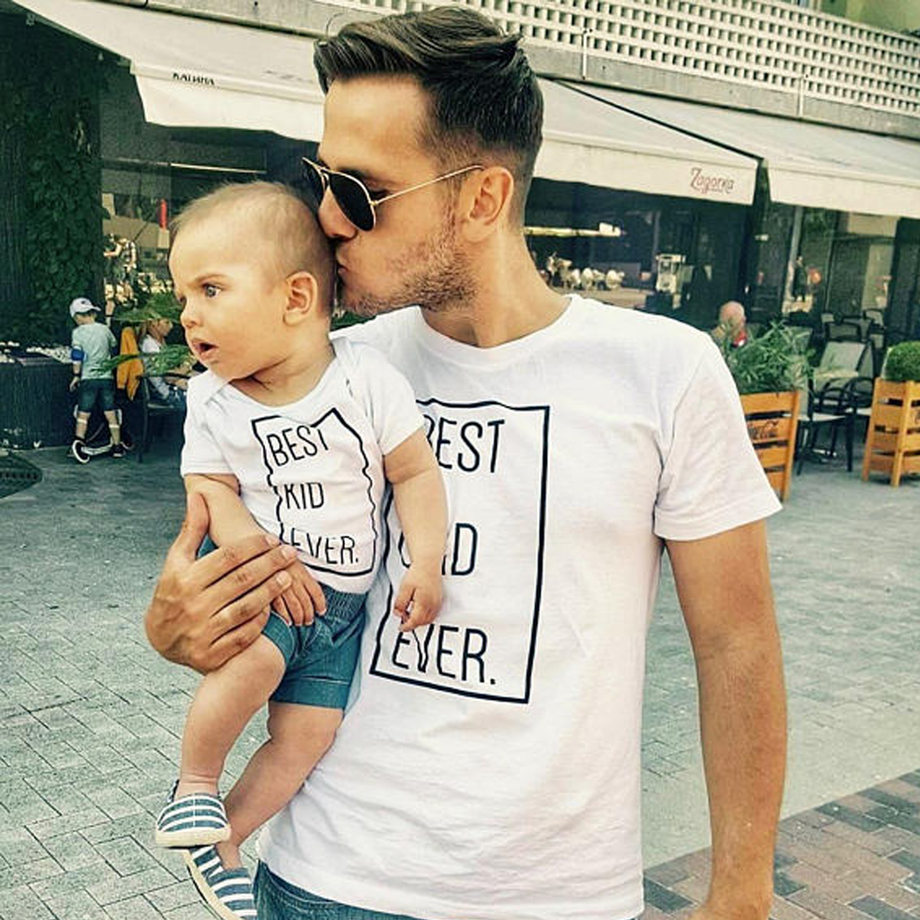 Best Dad Ever / Best Kid Ever Matching White T-Shirts