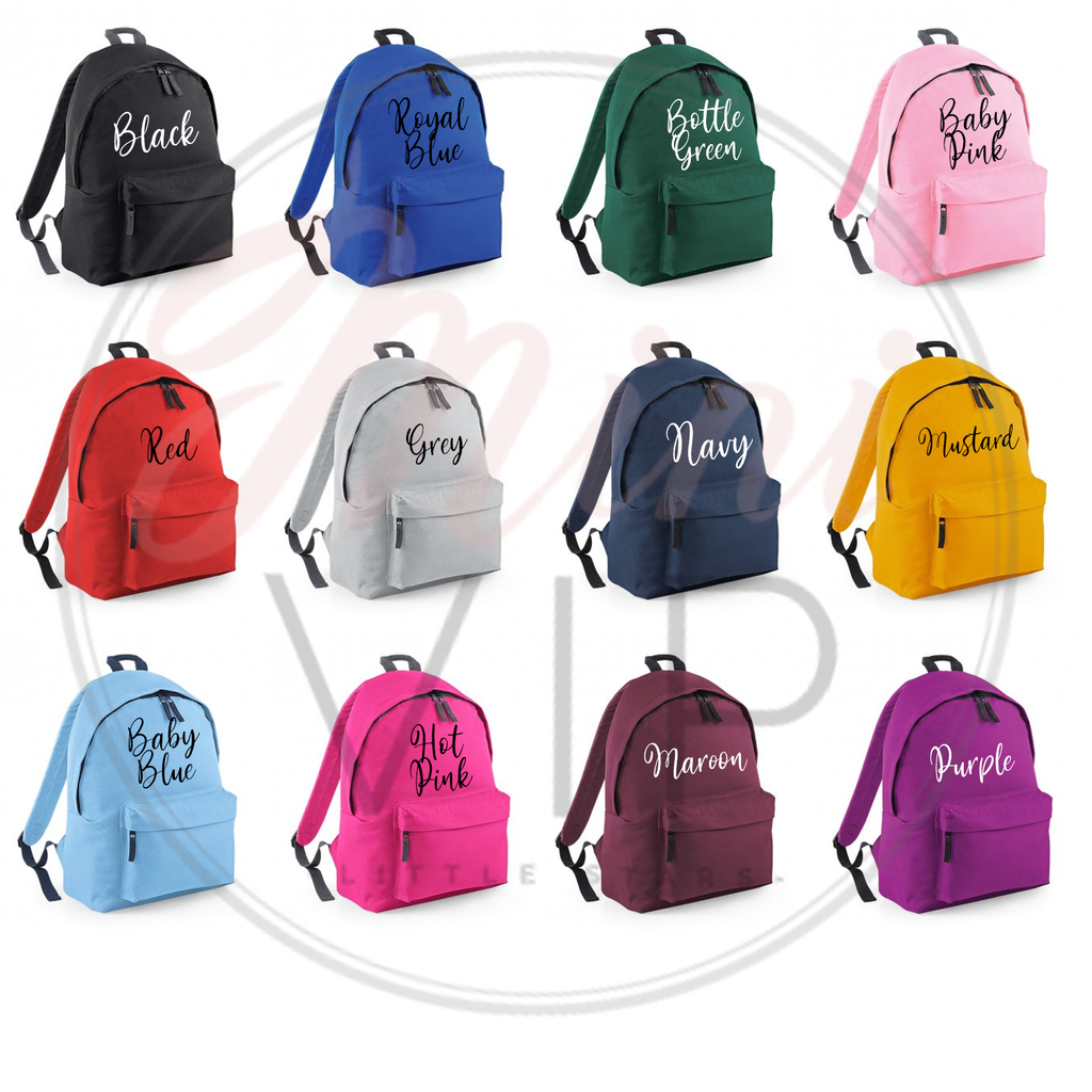 Personalised Block Name Bag - other back pack colour options