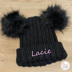 Personalised Double Black Pom Pom Embroidered Beanie Hat - Infants, Junior & Adult sizes