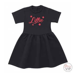 Personalised Black Dress with Red Festive Glitter Print