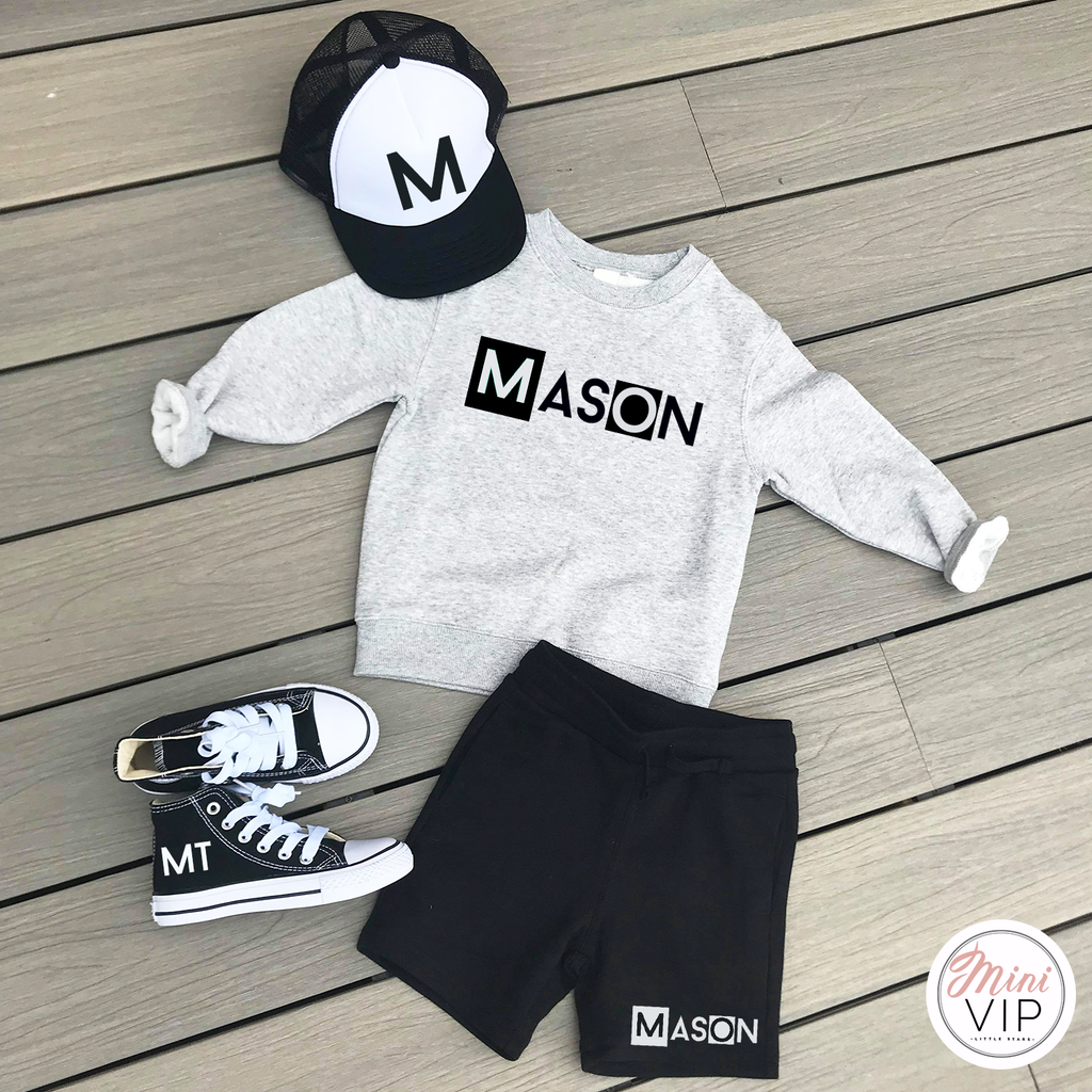 Personalised Black Shorts & Grey Sweatshirt Summer Set
