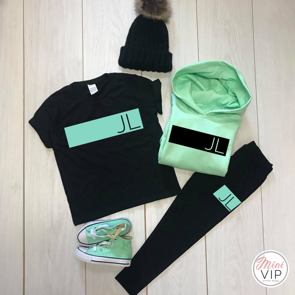 Personalised Black/Mint Leggings Lounge Set - Autumn/Winter