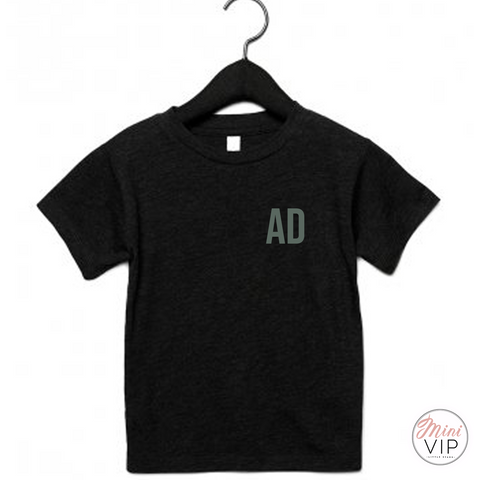 Black Arlo T-Shirt with Khaki Initials - personalised