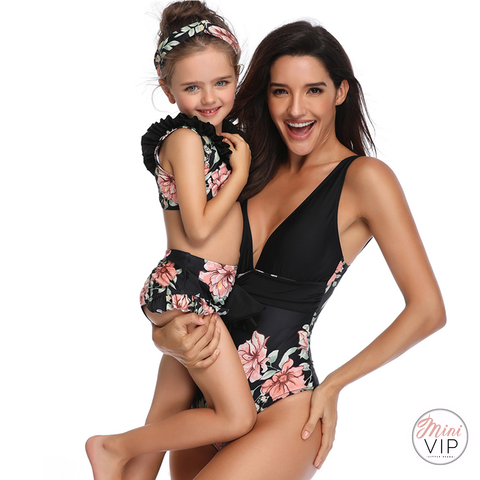 Image of Black Floral Swimsuit - Twinning Styles available for Mum and Daughter!