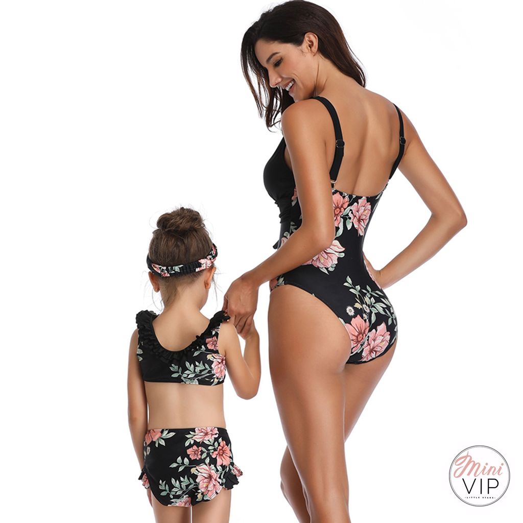 Black Floral Swimsuit - Twinning Styles available for Mum and Daughter!