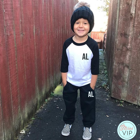 Image of Personalised Black/White Baseball T-Shirt Tracksuit Lounge Set