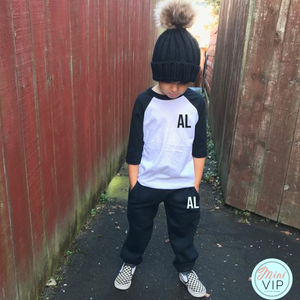 Personalised Black/White Baseball T-Shirt Tracksuit Lounge Set