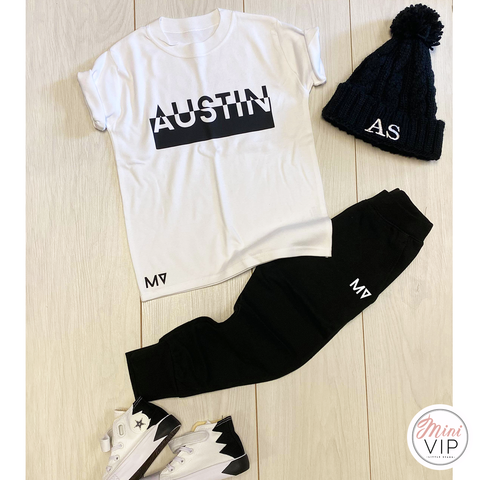 Contrast Name Black & White Tracksuit Lounge Set