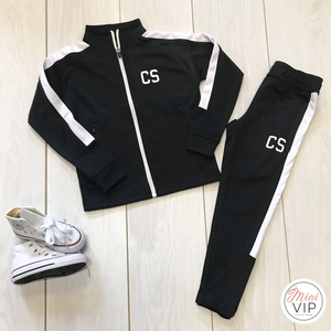 Black & White Stripe Personalised Initials Tracksuit