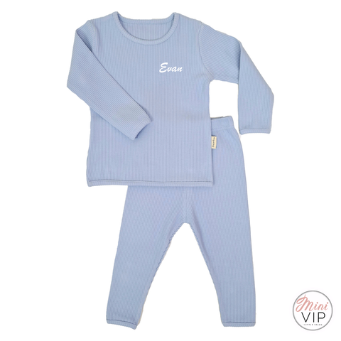 Image of Embroidered Baby Blue Ribbed Loungewear