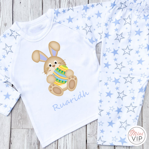 Personalised Blue Easter Bunny Print Pajamas