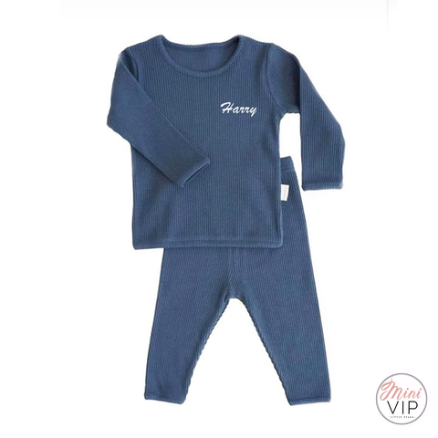 Image of Embroidered Blue Ribbed Loungewear