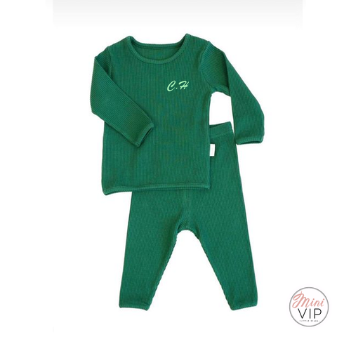 Embroidered Bottle Green Ribbed Loungewear
