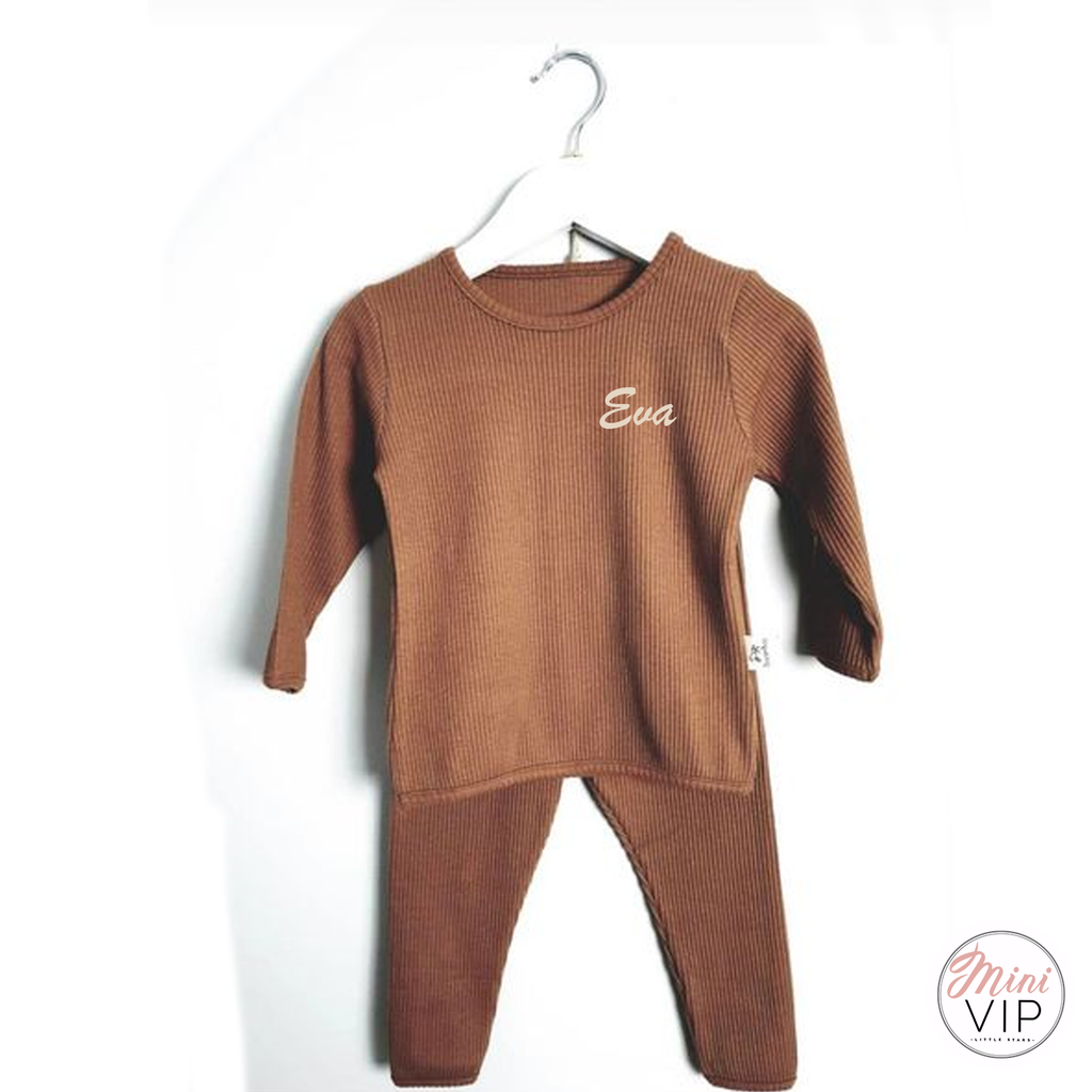 Embroidered Caramel Ribbed Loungewear