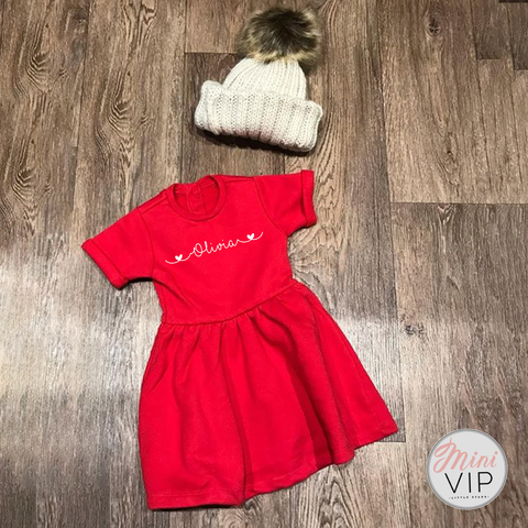 Personalised Girls Red Festive Dress