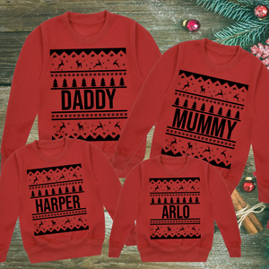Personalised Red Family Christmas Nordic Print Sweatshirts