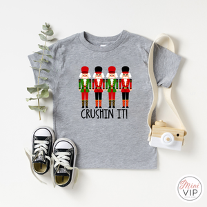 Crushin' It Nutcrackers grey festive t-shirt - Kids & Adult Sizes