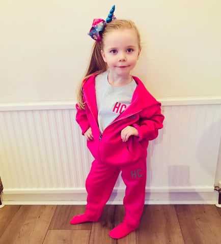 Image of Personalised Initials Pink/Grey Tracksuit Lounge Set