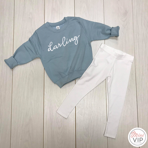 db37d9146 'Darling' Baby Blue Sweatshirt & Leggings Lounge Set · '