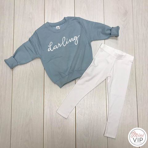 'Darling' Baby Blue Sweatshirt & Leggings Lounge Set