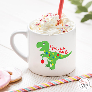 Personalised Children's Dinosaur Christmas Mug