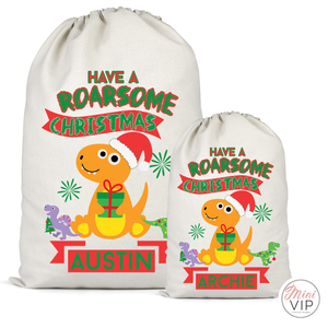 Roarsome Christmas Dinosaur Personalised Cotton Santa Sack