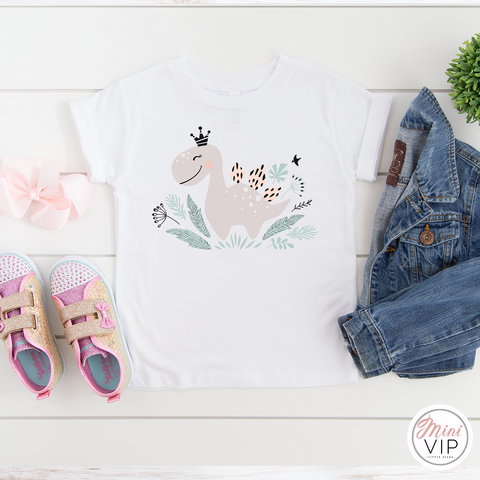 Cute Dinosaur Girly White T-Shirt