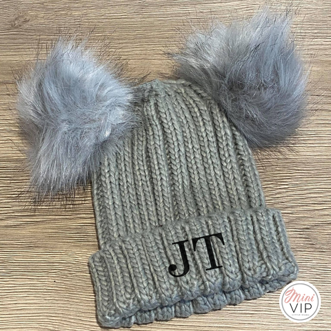 Personalised Double Grey Pom Pom Embroidered Beanie Hat - Infants, Junior & Adult sizes