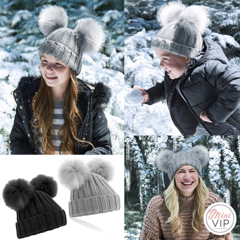 Double Pom Pom Beanie Hat - Infants, Junior & Adult sizes