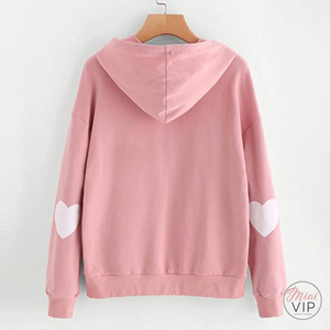 Heart Patch Sleeve Dusty Pink Hoodie