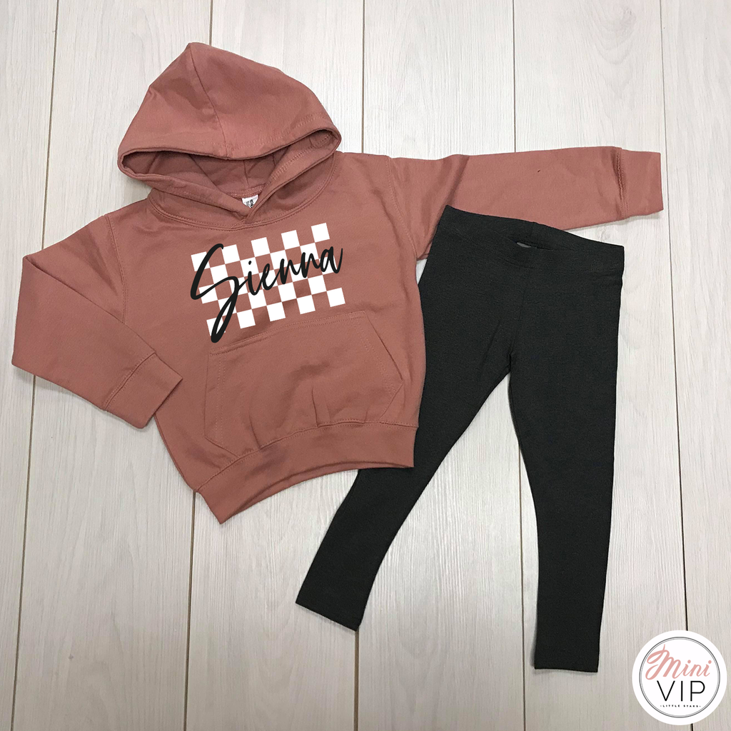 Personalised Checkered Hoodie & Leggings Lounge Set