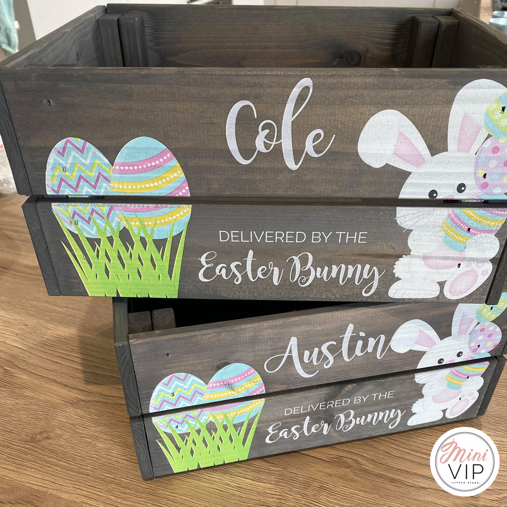 Personalised Easter Bunny Grey Crate
