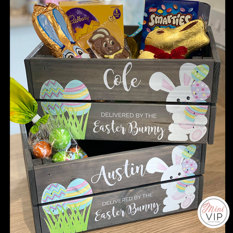 Image of Personalised Easter Bunny Grey Crate