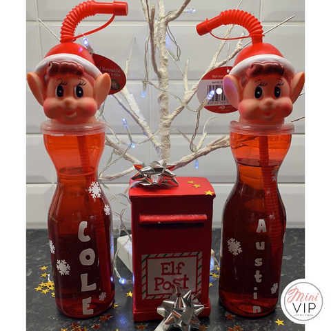 Personalised Elf on the Shelf Christmas Bottle with Straw