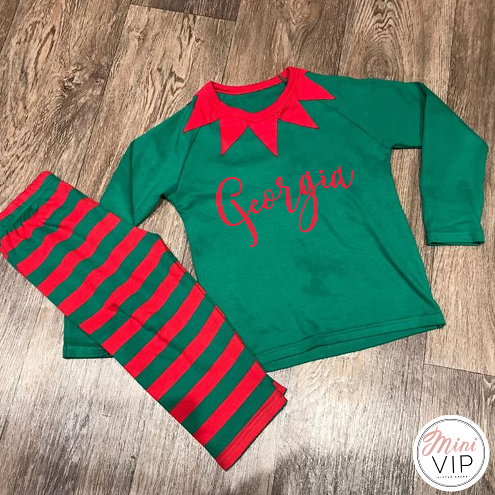 Personalised Elf Style Christmas PJs