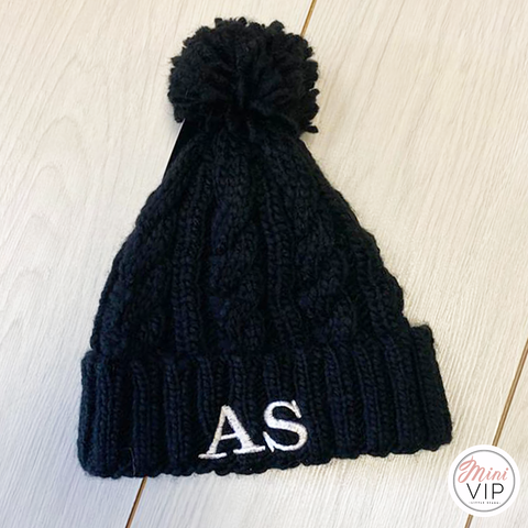Image of Black Embroidered Cable Knit Melange Beanie Hat - Infants, Junior & Adult sizes