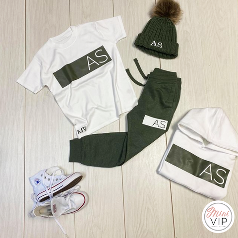 Personalised Khaki/White Tracksuit Lounge Set A/W