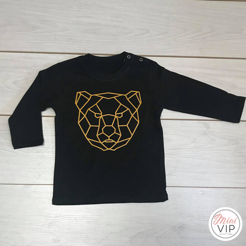 Geo Bear - Black Long Sleeve T-Shirt