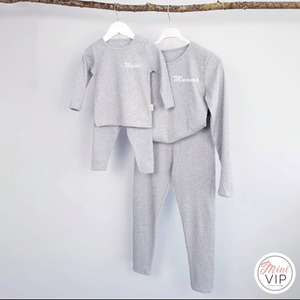 Adult Sizes - Embroidered Grey Ribbed Loungewear